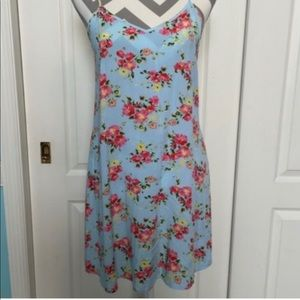 Blue floral slip dress. Size small.